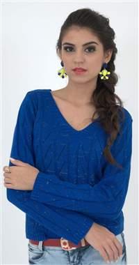 Blusa Decote V. Rendada com lurex